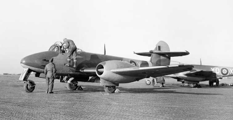 Early RAF Meteor of No. 616 Squadron at Manston