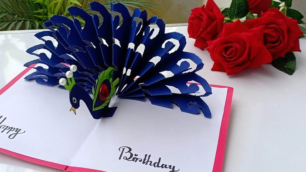 Diy How To Make Peacock Pop Up Card Paper Crafts Handmade Craft Birth Paper Crafts Cards Paper Crafts Paper Crafts Diy