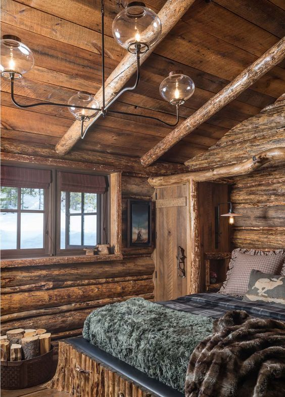 56 Extraordinary Rustic Log Home Bedrooms | Cabin, Bedrooms and Logs