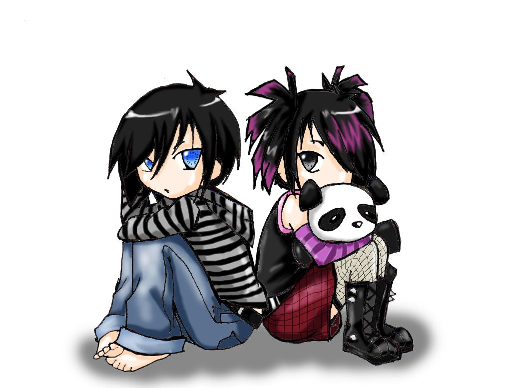 Emo Chibi Bf And Gf Cute Emo Couples Cute Emo Emo Backgrounds