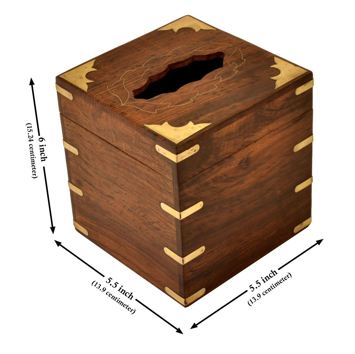 Rustic Tabletops Handmade 5 3 Rosewood Upright Tissue Napkin Holder Box With Brass Inlays Tissue Boxes Tissue Box Covers Handmade Wooden