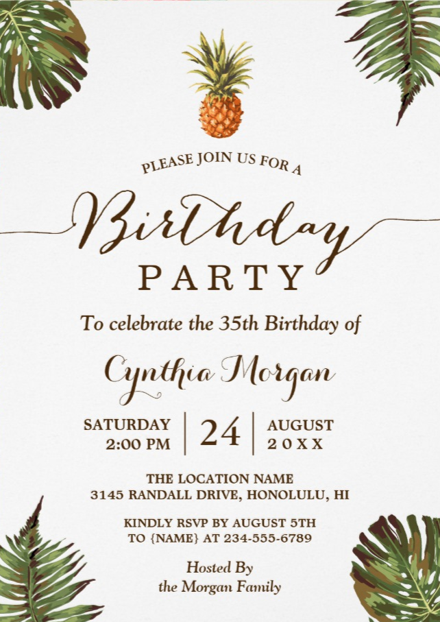 Tropical Birthday Party - Summer Pineapple Leaves Invitation | Zazzle.com #tropicalbirthdayparty
