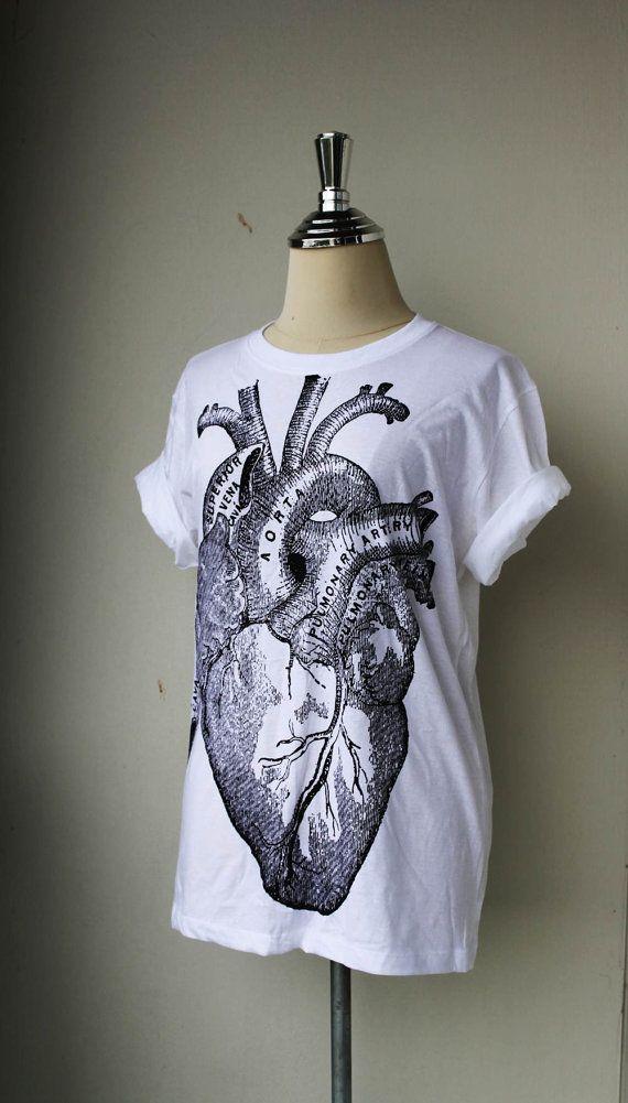 Unisex Tshirt / Heart Anatomy on White Tshirt cotton by Tshirt99