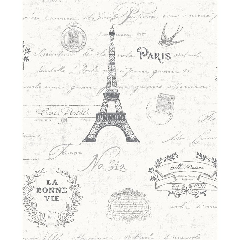 K2 All Rooms Paris Black White Collage Wallpaper