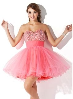 A-Line/Princess Sweetheart Short/Mini Tulle Homecoming Dress With Ruffle Beading (022009105) - JJsHouse