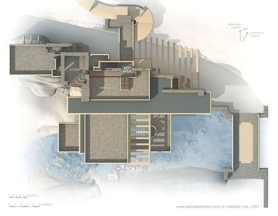 Fallingwater casa sulla cascata pianta terzo livello for Casa floor