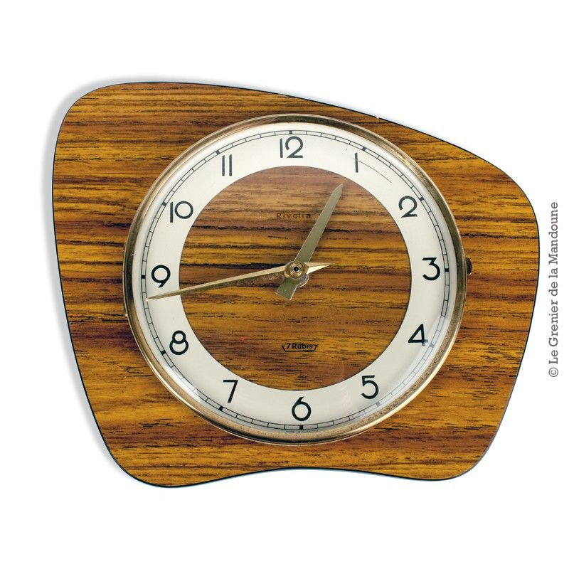 horloge pendule ☆ rivolia ☆ 7 rubis ☆ vintage formica horloge