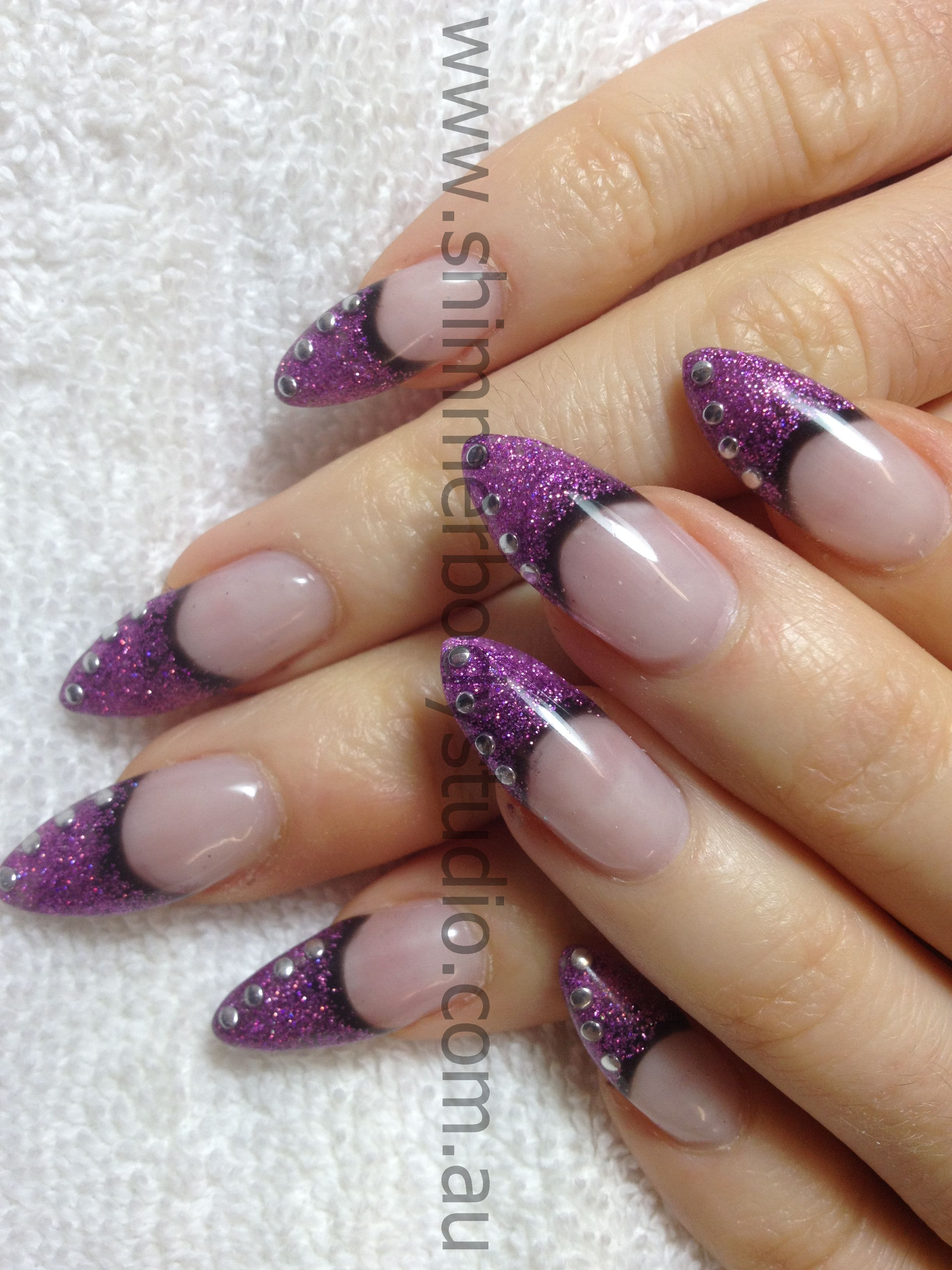Gel nails, Glitter nails, Pointed nails, nail art. | Nails ...