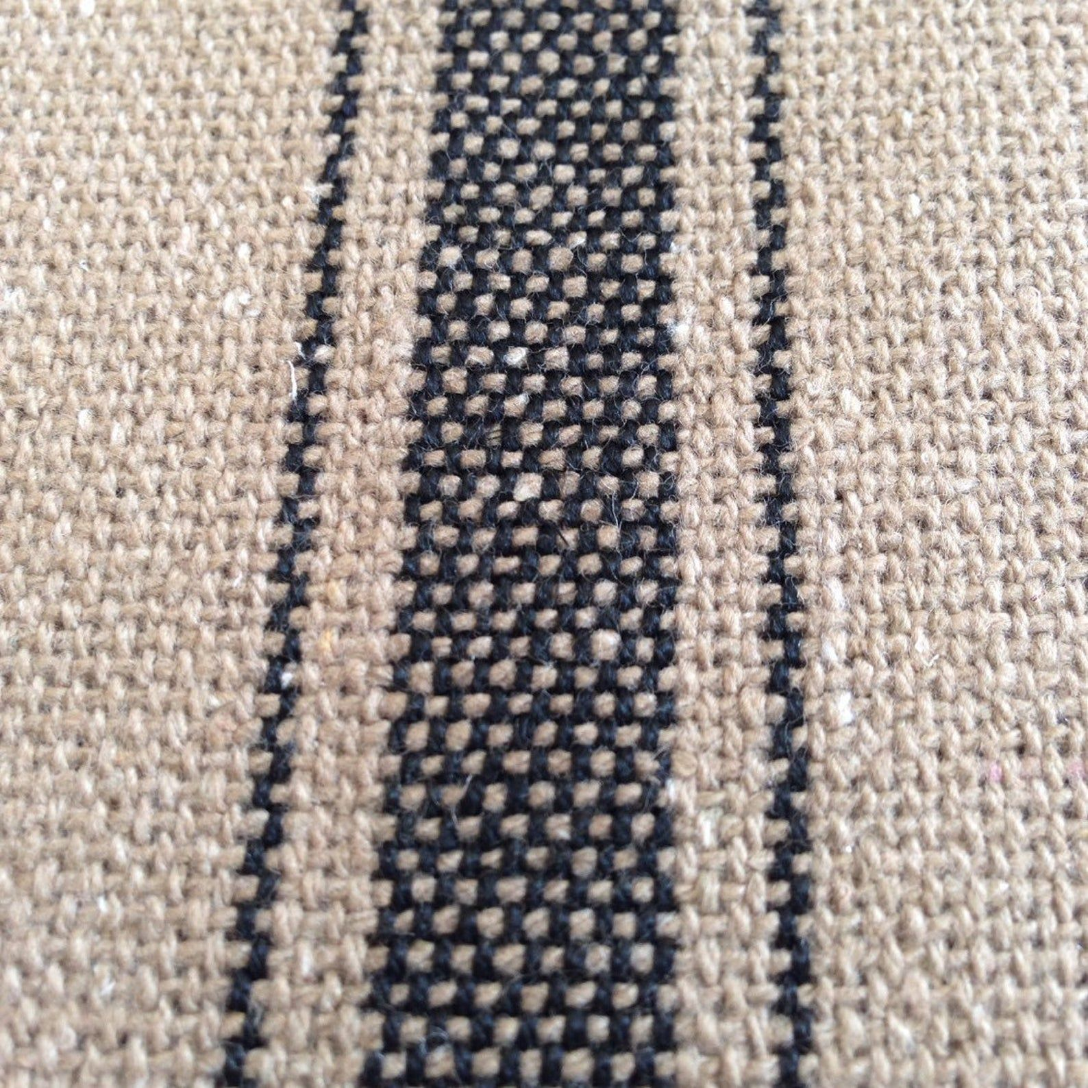 Grain Sack Fabric By The Yard Black Stripe On Dark Tan Grain   Etsy