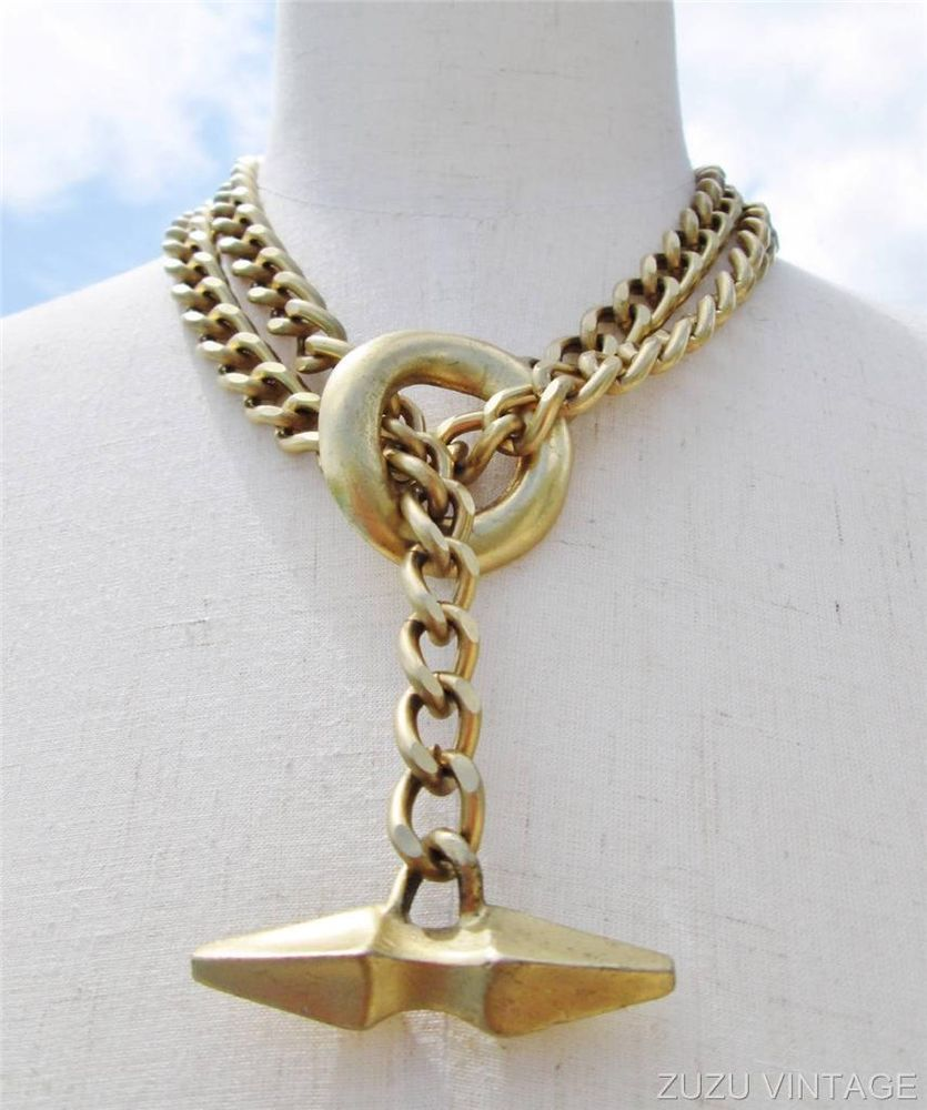 Vintage Accessocraft NYC Huge Toggle Chain Necklace