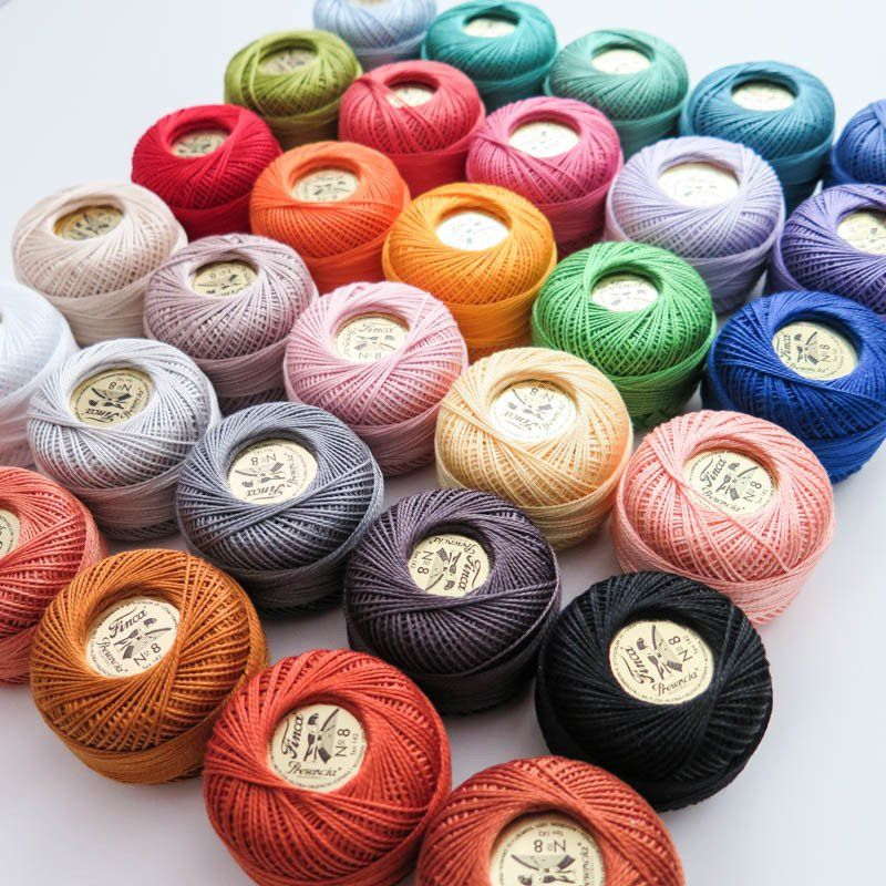 LOT 30 BALLS #8 PERLE//PEARL COTTON THREADS HARDANGER HAND EMBROIDERY