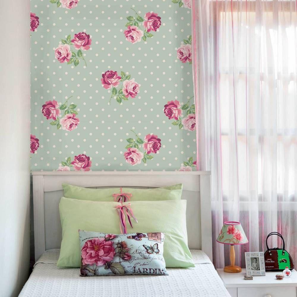 Papel de parede floral rosas em cores verde e rosa claro 013  WALLPAPER  Pi