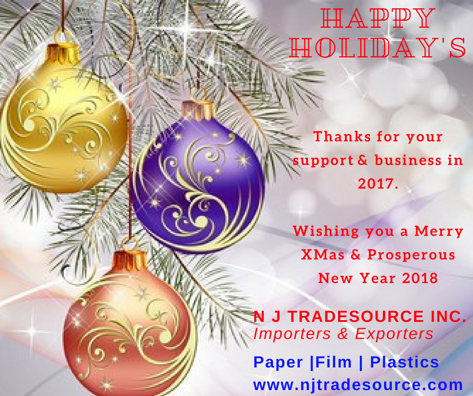 Happy Holidays And Thanks To All >> Thank You For Your Support And Business In 2017 Wishing