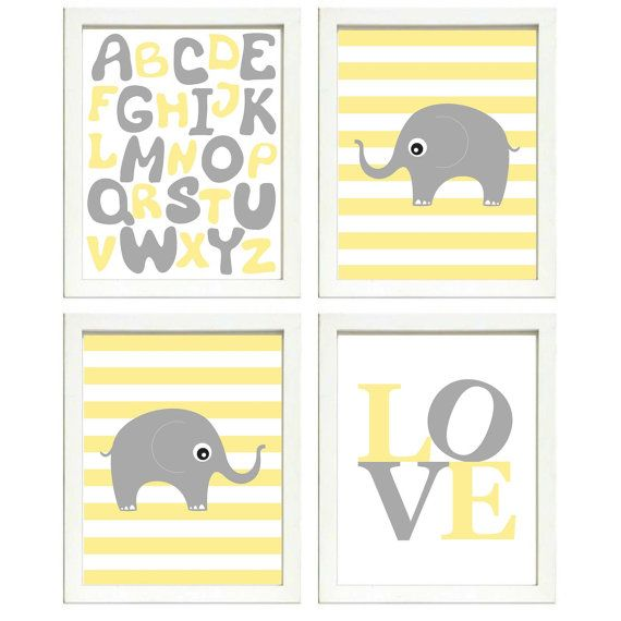 INSTANT DOWNLOAD Yellow Grey Elephant Nursery Art Printable Baby ...