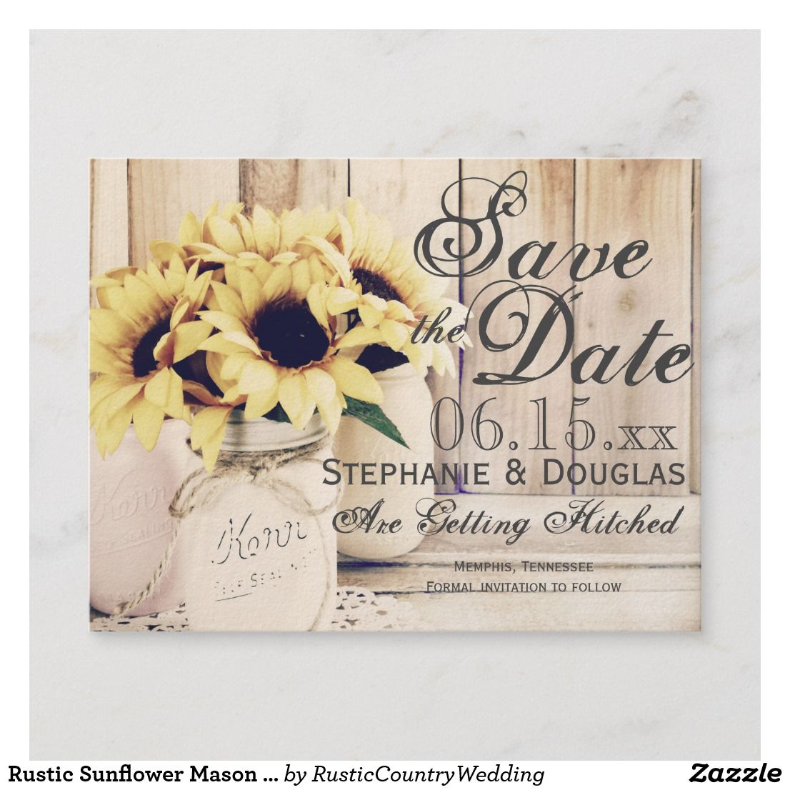 rustic sunflower mason jar save the date postcards save the date cardswedding wedding invitationssave the date save the date cards save the date magnets