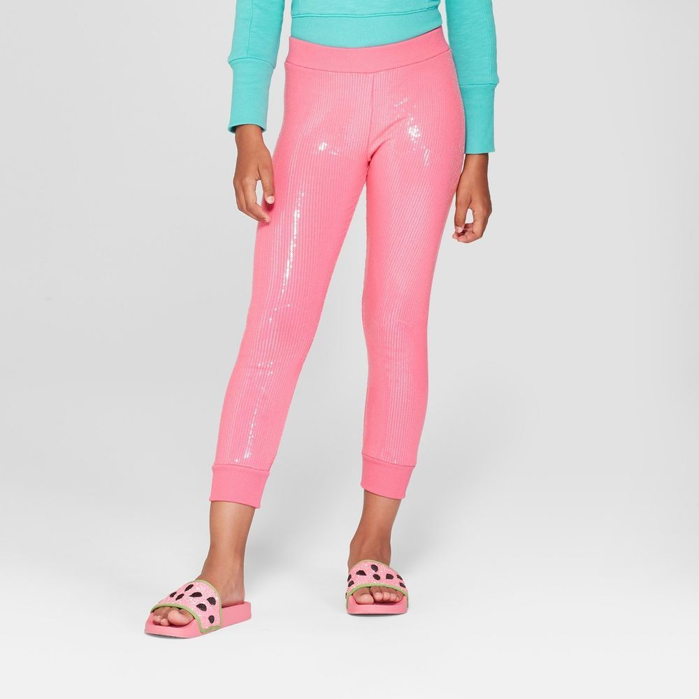 ed4366f8bec4bb JoJo's Closet JoJo Siwa Pink SEQUIN Bling tight Legging Pants Dance Moms L  10/12 #PINK