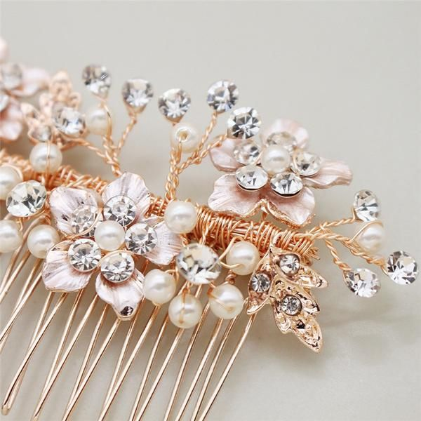 These beautiful Floral hair combs are hand wired and designed with a pretty floral beaded pattern and comes in a choice of three stunning colours of either, gold, classic silver or a delicate rose gold. The hair combs can be worn to the rear or side of your Wedding hairstyle. The combs are approx 11.5cm long and weigh only 25g so light weight enough for all hair types. Important: This item is handmade please allow up to 4 weeks for delivery. #bridalhairflowers