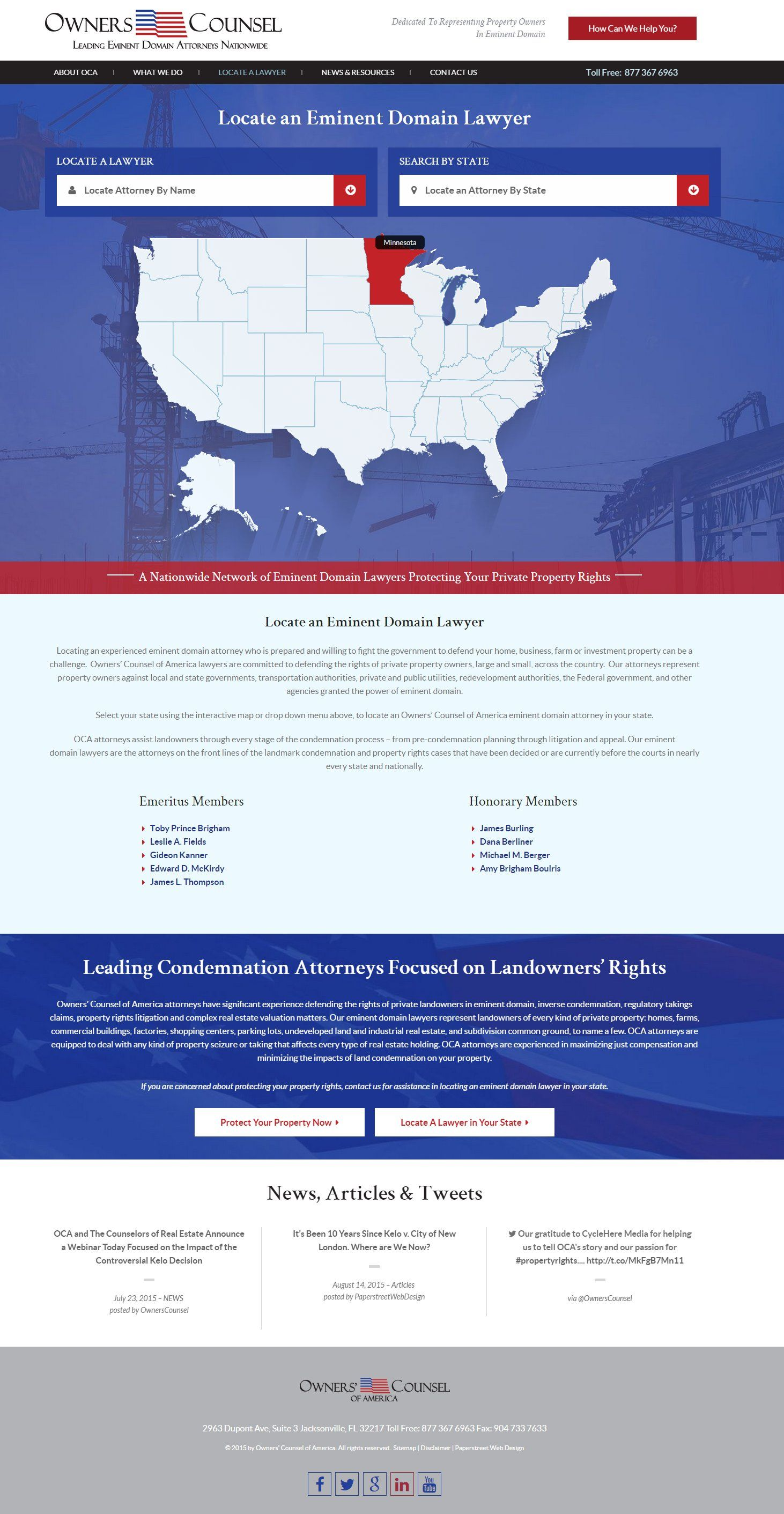 Attorney landing page, list of lawyers, map design, lawyer map design | PaperStreet