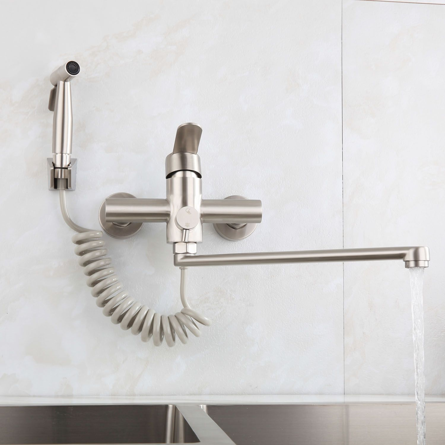 Stainless Steel Brushed Kitchen Faucet Rotatable Wall Mounted Tap With Bidet Spray Shower Head In 2020 Kitchen Faucet Wall Mounted Taps Faucet