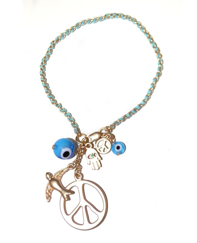 Teal Evil Eye & Peace Bracelet