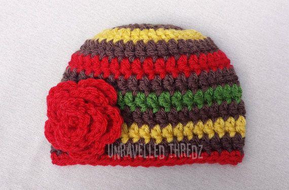 Rasta Baby Flower Hat, Crochet Baby Girl Hat, Newborn Girl Hat, Baby ...
