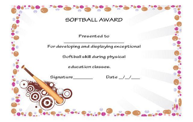 softball award certificate template