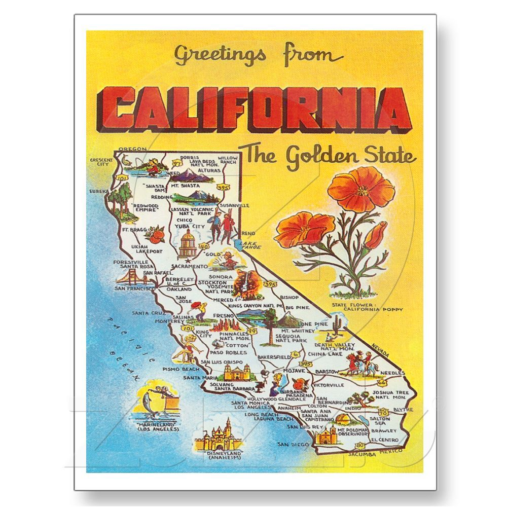Greetings From California The Golden State Poster From