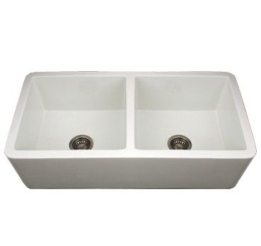 Whitehaus WH3719-W 36 3/4in Duet Reversible Double Bowl Fireclay ...