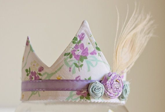 Shabby Chic Fabric Crown  Vintage Floral and by HarperJosBoutique, $24.95