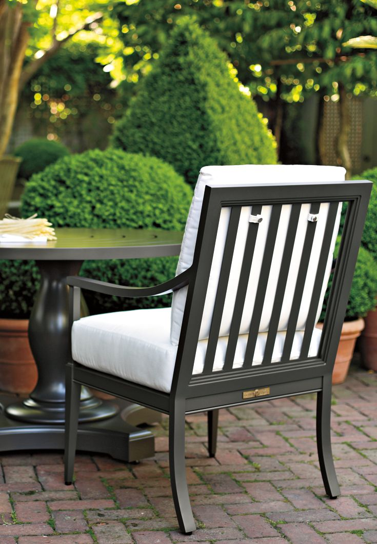 Duval Dining Arm Chair With Vertical Back Shown With Dubosque Dining Table In Natural Bronze Finish Aluminium Outdoor Furniture Furniture Outdoor Furniture