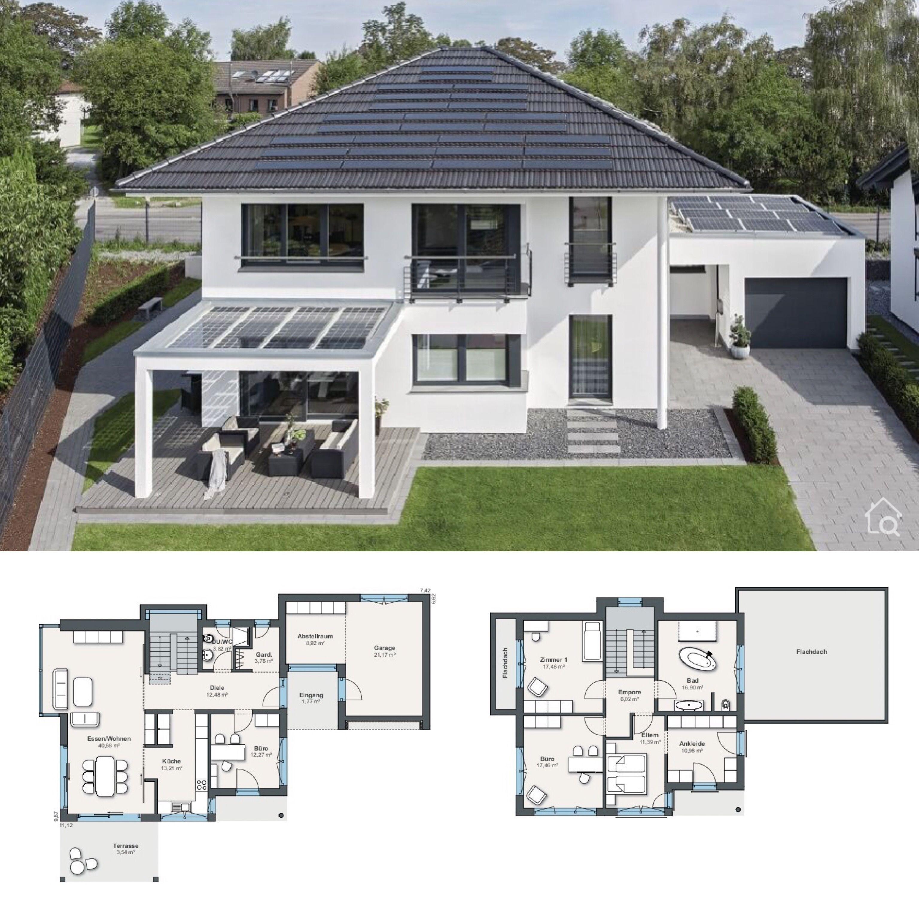 Neubau Stadtvilla modern mit Garage & Walmdach Architektur