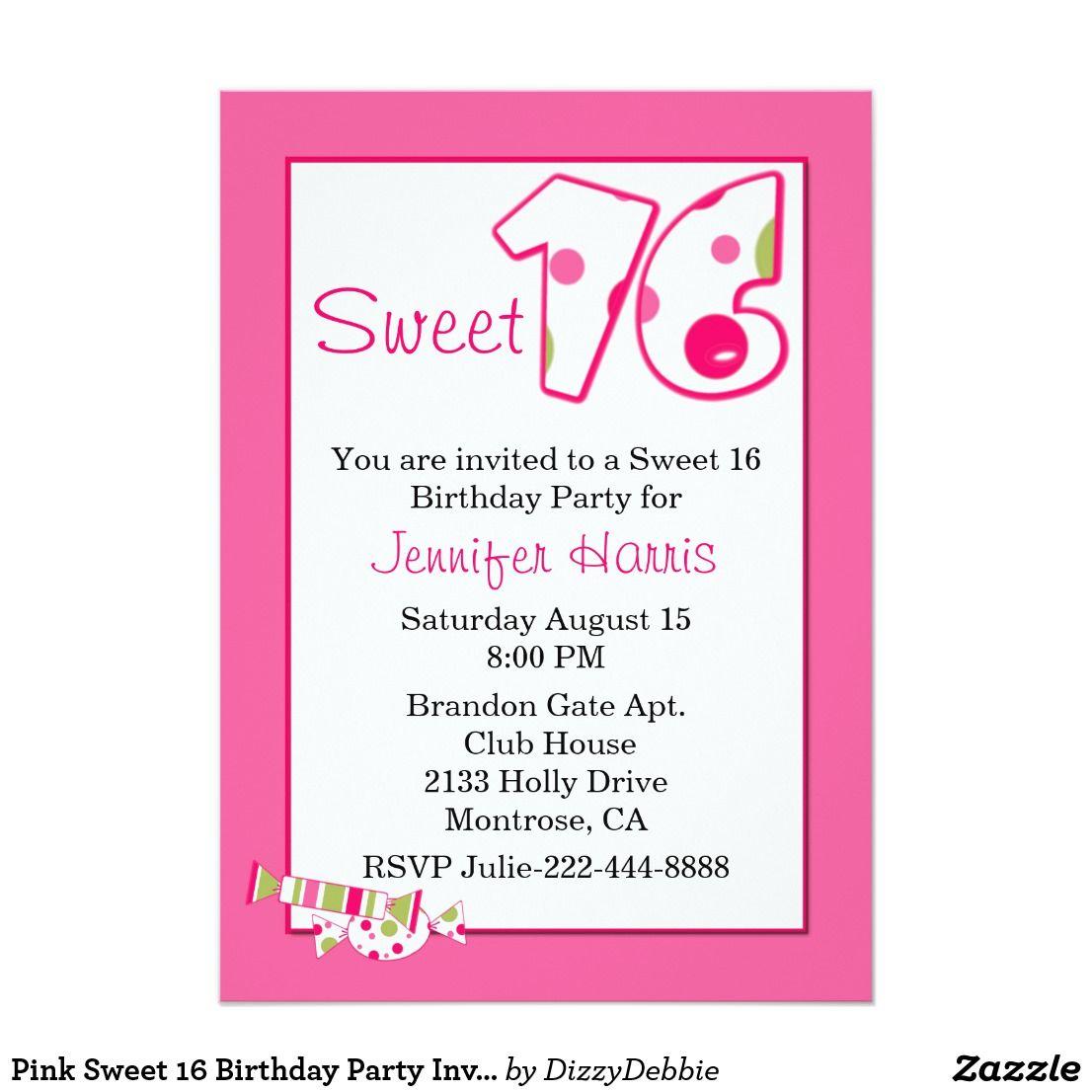 Pink Sweet 16 Birthday Party Invitation | Pink sweet 16, Sixteenth ...