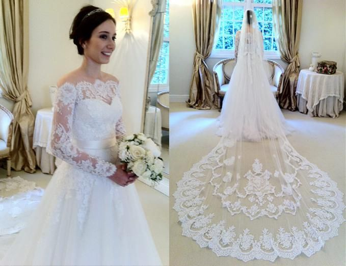 Lace Lique A Line Tulle Wedding Dresses Off Shoulder Long Sleeves Floor Length Bridal Gowns With Cathedral Train Veil 249 00