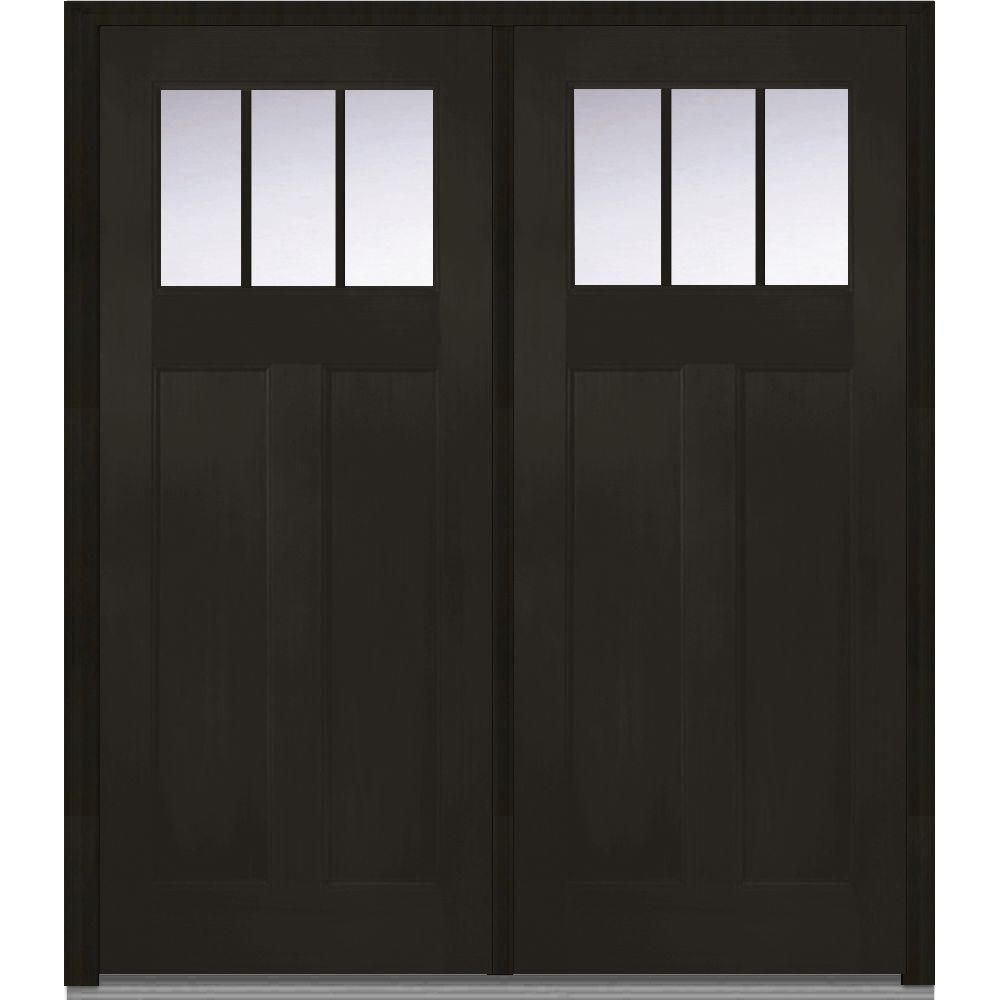Classic Clear Glass 3 Lite Craftsman Finished Fir Fiberglass Exterior  Double Door At The Home Depot   Mobile