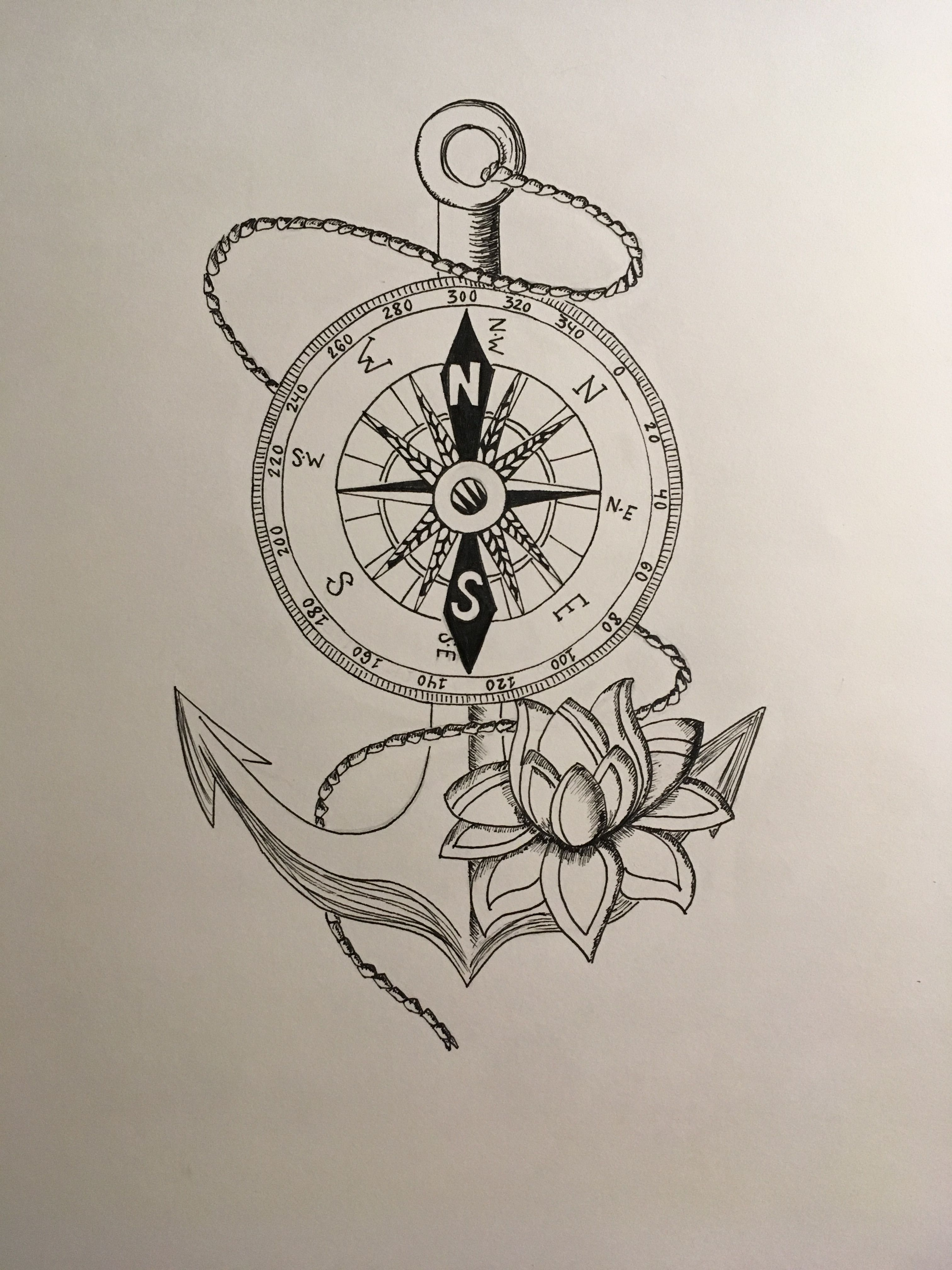 904b117e1 Anchor and Compass ⚓ #drawing #art #tattoo #anchor #compass #black&white