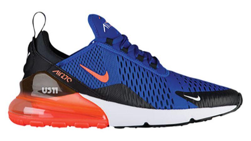 Men S Uk Nike Air Max 270 Shoes Royal Blue Orange White Black Trainers Uk Sale Nike Air Max Running Shoes For Men Air Max
