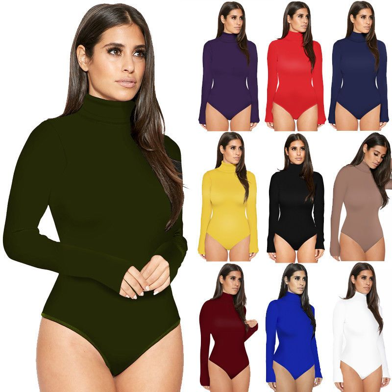 e534b96f00 Womens Long Sleeve Plunge Stretch Leotard Tops Bodysuit Blouse T-Shirt  Jumpsuit