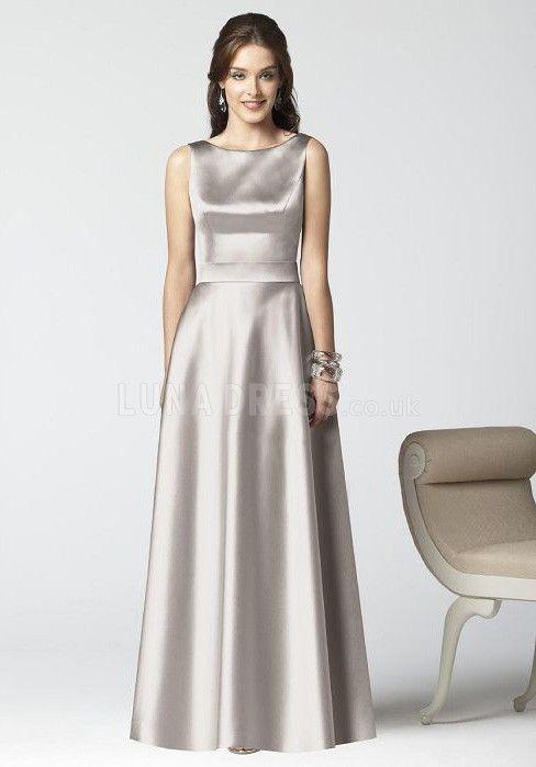 Junoesque Bateau Satin A line Natural Waist Bridesmaid Dress