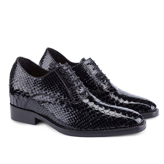 Exotic Leather Elevator Shoes - Upper in genuine Python black patent leather, insole and midsole in genuine leather, cotton waxed shoe laces. Hand Made in Italy.