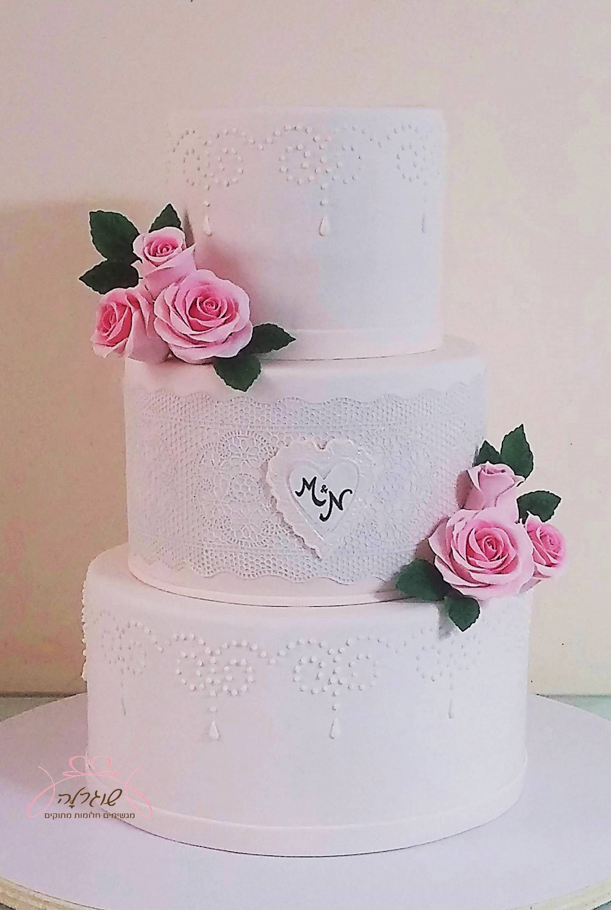 Classic elegant, 3 tiers white wedding cake, decorated with pearls ...