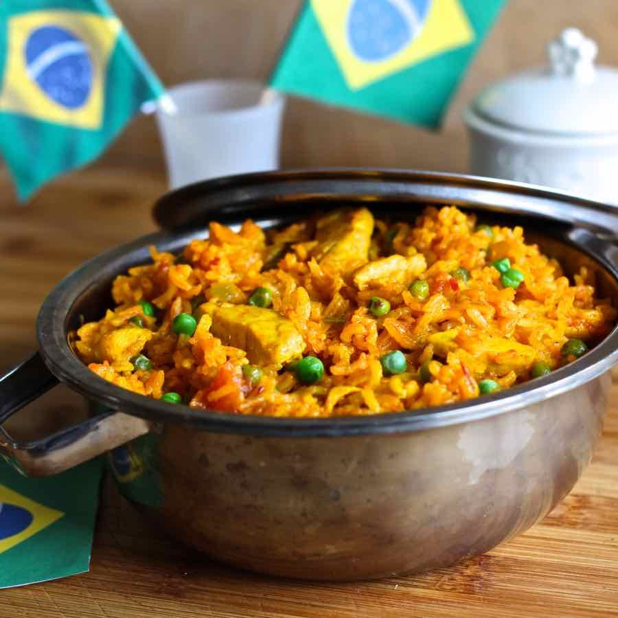 Galinhada Is An Emblematic Brazilian Dish Prepared With Rice And Chicken Whose Yellow Color