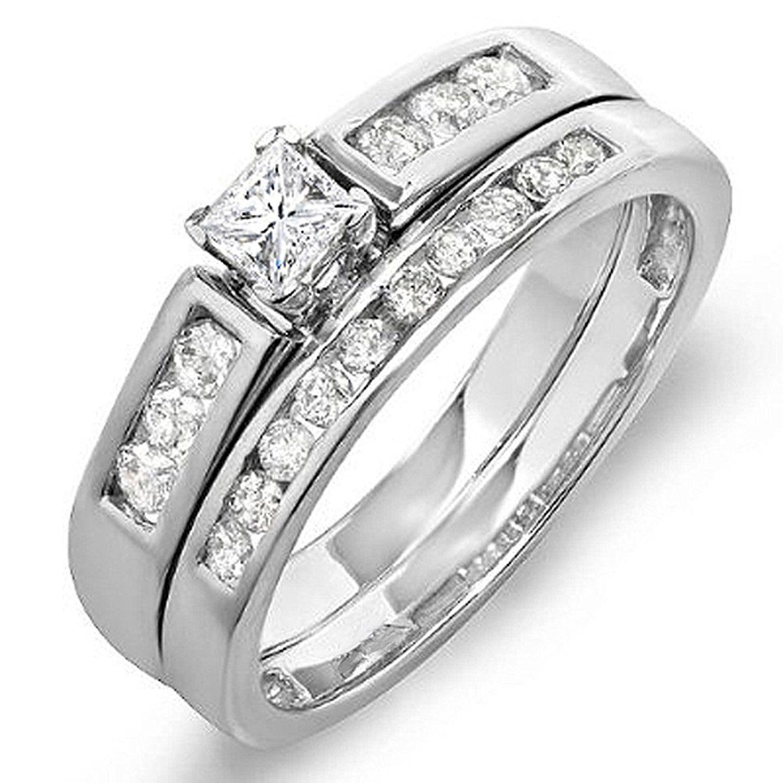0.60 Carat (ctw) 14k White Gold Princess Diamond bridal