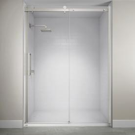 Jacuzzi 59 In To 60 In W Semi Frameless Bypass Sliding Brushed Nickel Shower Door Sx60826 Shower Doors Frameless Sliding Shower Doors Frameless Shower Doors
