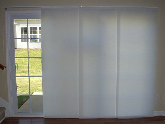Large panel track blinds panel track shades sliding for Panel tracks for patio doors