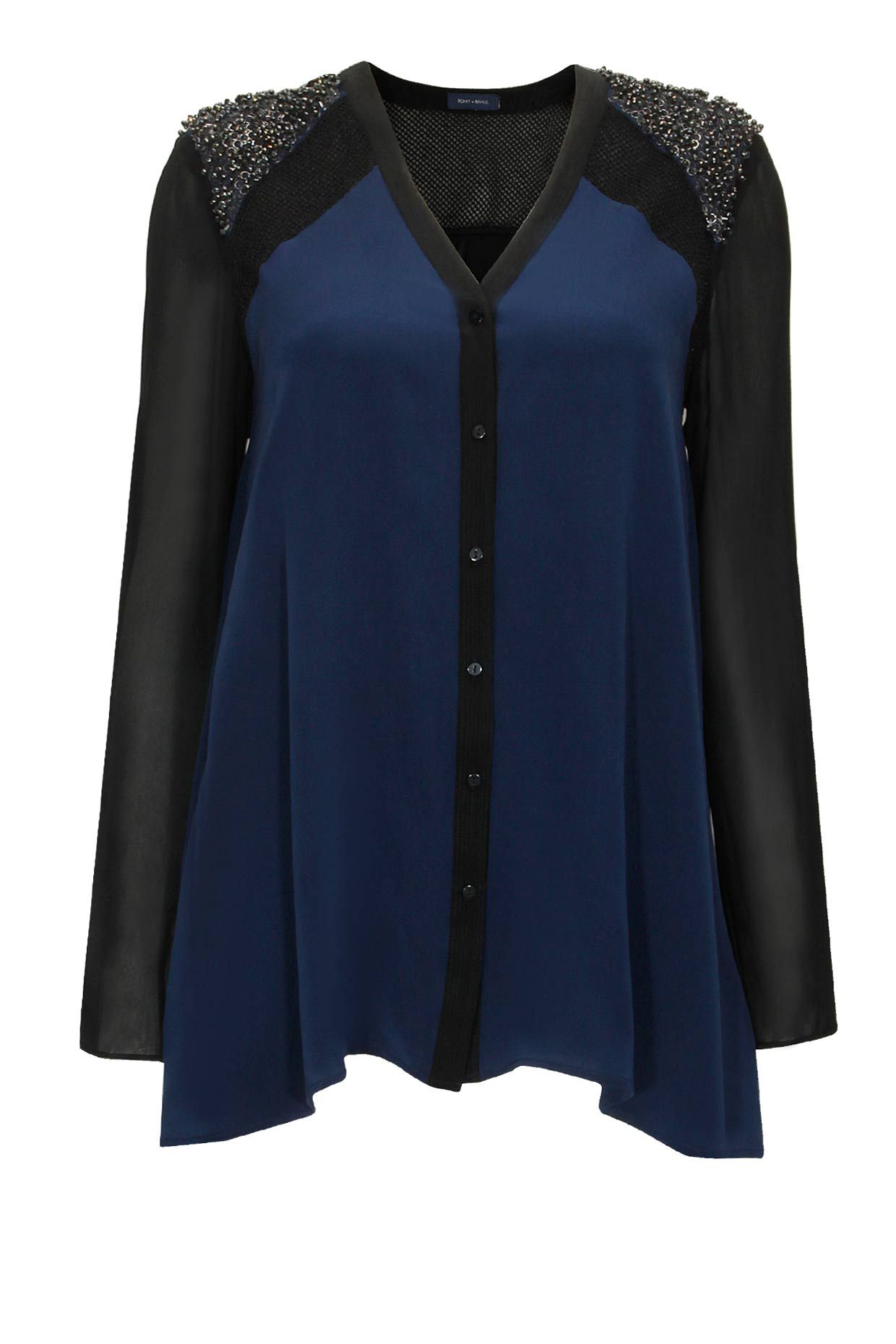 Navy and black colour blocked beaded shirt available only at Pernia's Pop-Up Shop.