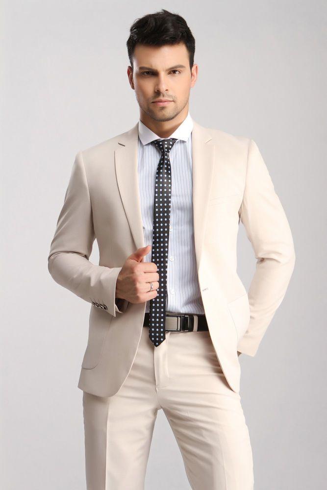 Men\'s Slim Fit Wedding Suits Groom Tuxedos Groomsmen Formal Suit ...