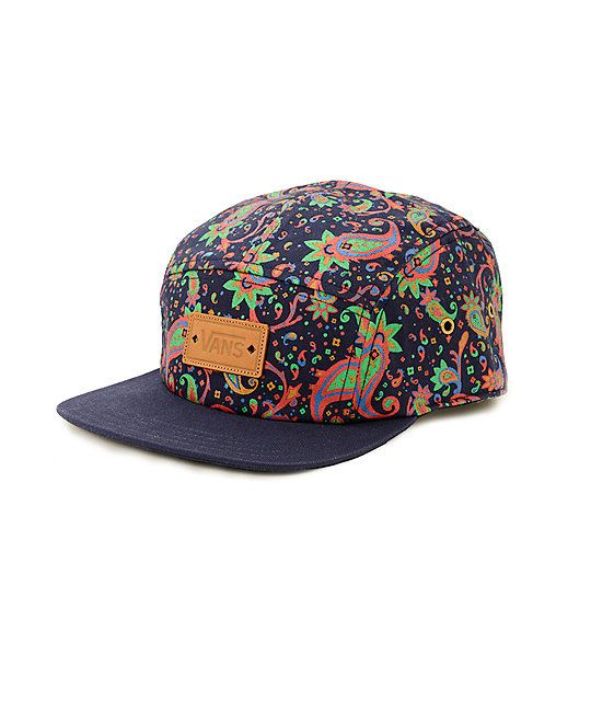 Take your style to the next level with this paisley print camper hat that features a faux leather brand patch and adjustable strapback sizing piece for a custom fit.