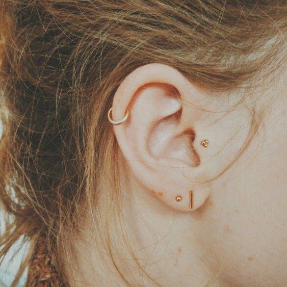 ear piercings helix tragus double lobe by1oak bijoux d 39 oreilles pinterest. Black Bedroom Furniture Sets. Home Design Ideas
