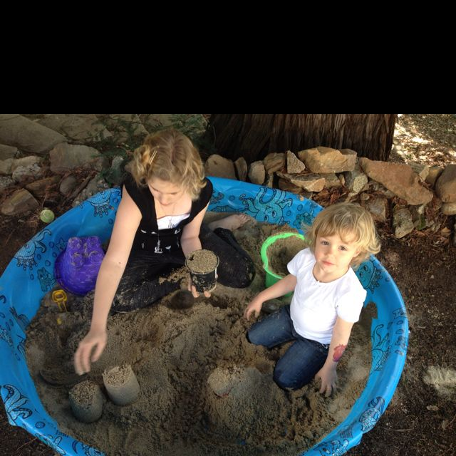 A Sandbox Using Home Depot Play Sand And A Baby Pool Cover