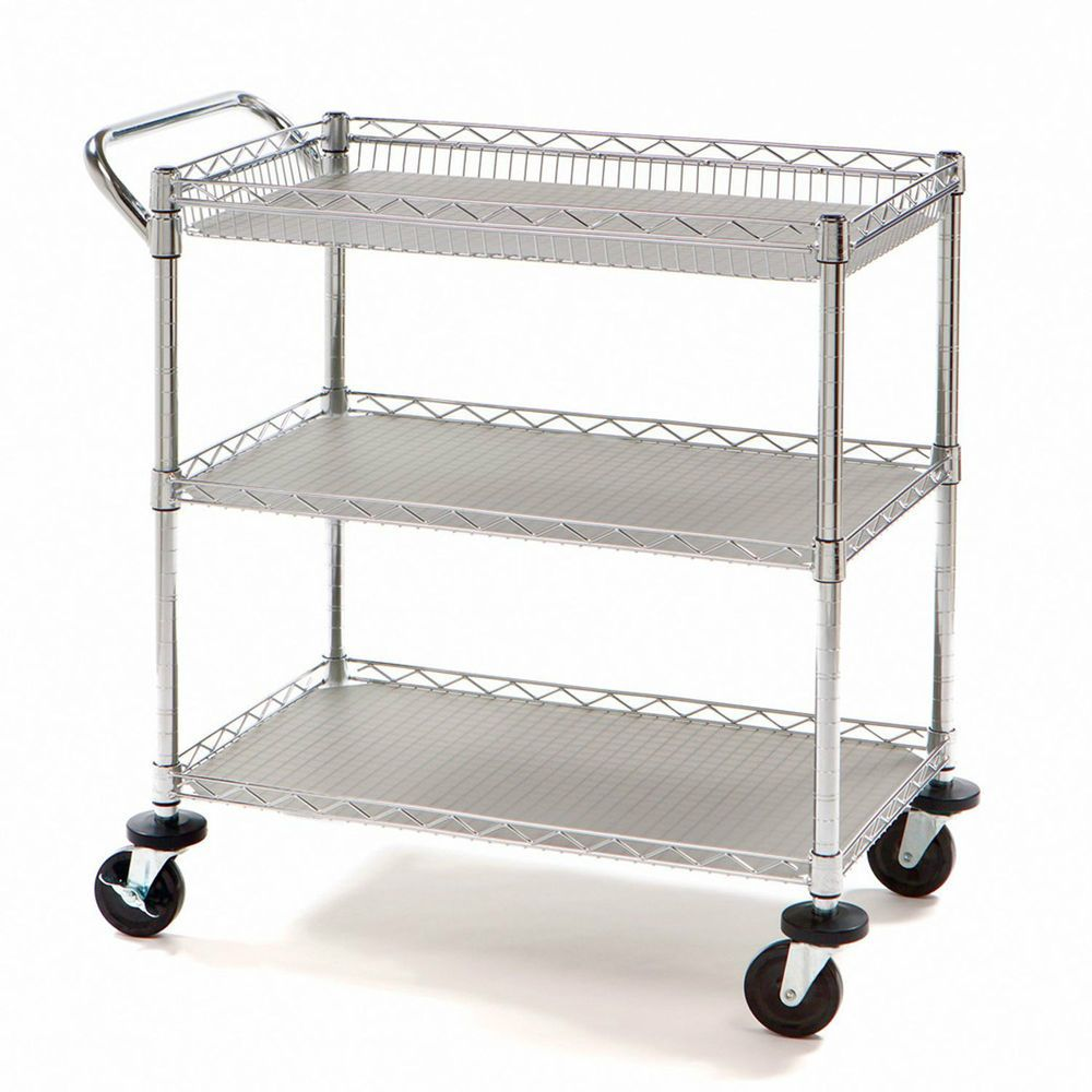 New Heavy Duty Rolling Utility Push Cart Chrome Metal Medical ...